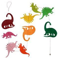 Multi-coloured paper dinos garland - Little Lulubel