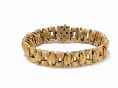 18K Yellow Gold Retro Woven Bracelet, Italy, c.1950 18k yellow goldItaly, circa 1950Hallmarked with