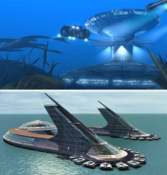 Monorail New Atlantis Design Utopian Sea Project Architecture Floating Architecture, Unique Architecture, Futuristic Architecture, Futuristic Home, Futuristic Design, Underwater City, Future Buildings, Fantasy City, Floating House