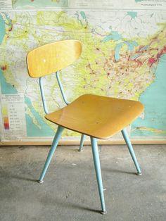 Mid Century School Chair Kids Retro Furniture