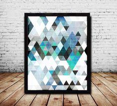 Geometric Print Blue Print Blue Abstract Art by PrintEclipse