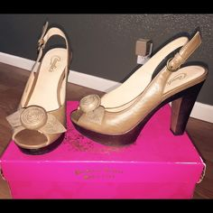 Candie's sling back heels. Candie's Taupe Sling-back heels. Used,  in great condition! Candie's Shoes Heels