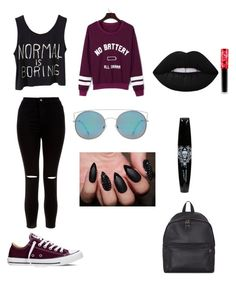 Normal is boring :) by miya716 on Polyvore featuring polyvore, fashion, style, WithChic, New Look, Converse, Eastpak, MANGO, Lime Crime and clothing