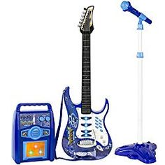 Best Choice Products Kids Electric Musical Guitar Toy Play Set w/ 6 Demo Songs, Whammy Bar, Microphone, Amp, AUX - Blue ** Check out the image by visiting the link. (This is an affiliate link) Kids Electric Guitar, Aux Cord, Kids Electronics, Musical Toys, Kids Ride On, Music For Kids, W 6, Playing Guitar, Kids Playing