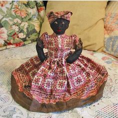 Darling Black Americana CLOTH RAG Doll Brown Pink by AzaleaTrail, $16.95