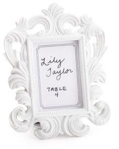 White Baroque Place Card Frame weddingshop.theknot.com/white-baroque-place-card-frame.aspx #knotshop #weddings