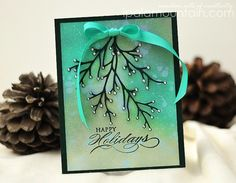 Christmas cutting with Penny Black | Random Acts of Creativity christma card, happi holiday, holiday cards, background, branch, christma cut, happy holidays, penny black stamps, penni black