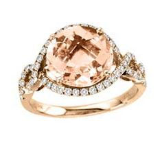 10.0mm Morganite and 1/2 CT. T.W. Diamond Ring in 14K Rose Gold - Online Exclusives and Personalized Jewelry - Gordon's Jewelers