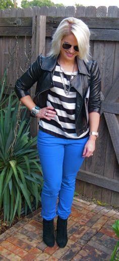 Blue Denim, Stripes, Leather, Black Booties