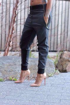 leather joggers and heels   pants shoes black zip sweatpants jeans gray pants cuff pants womens ...