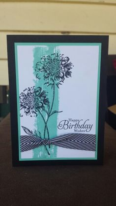 Stampin up field flowers & simply sketched birthday card using washi tape / masking tape technique ~ Stamp with Rachel ~