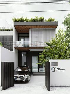 C house |CGI Design: Duy Huynh 893.studio on Behance Minimal House Design, Modern Small House Design, Modern Exterior House Designs, Modern House Plans, Modern Contemporary House, Modern House Facades, Simple House Design, House Gate Design, Bungalow House Design