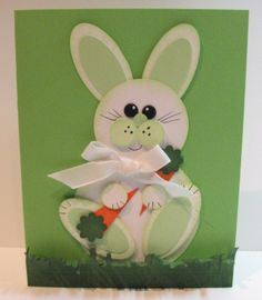 handmade bunny card ... perfect for Easter or Spring ... white and green with orange carrots ... punch art styling made with circles and ovales ... cute!
