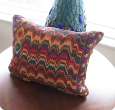 Bargello Needlepoint Hand Embroidered Pillow by Lisolabella