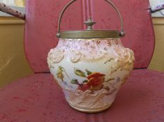 Antique Cracker Biscuit Jar or Barrel with PANSIES Marked DOULTON BURSLEM England Larger via Etsy