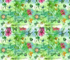 Garden Notes Botanical Fabric. Inspired by Artists Sketch using Pen, Ink & Watercolor.  by countrygarden, found on spoonflower.com