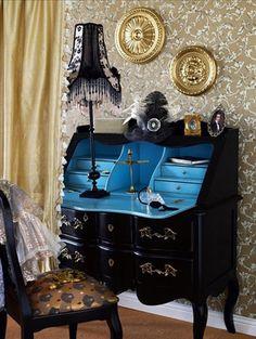 Love the secretary desk with turquoise interior