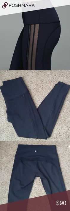 Size 10 LuLulemon leggings sz 10 WUP *SE Rolldown. Luxtreme. Hi rise, full length. 2nd owner, first owner says they were never worn and I have never worn, they do not fit. 3 different types of mesh running down side of leg. Black. Super cute just too big. lululemon athletica Pants Leggings