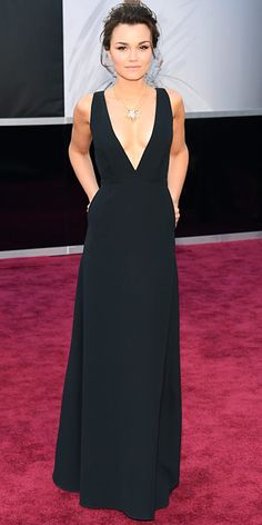 Samantha Barks in a black Valentino gown with a statement pendant necklace