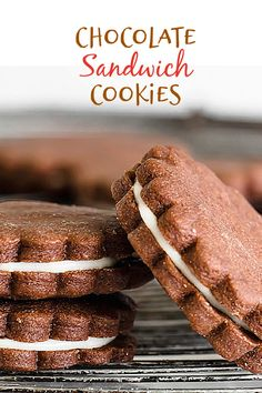 A wonderfully tasty filled cookie made from the best chocolate pie crust. They are filled with an almond-scented cream cheese filling and are very simple to make. They can be made ahead and frozen, and cut out any shape you want. #chocolate #cookies #filled #easy #creamcheese Easy Cookie Recipes, Homemade Desserts, Delicious Desserts, Dessert Recipes, Sweet Desserts, Chocolate Pie Crust, Chocolate Filling, Chocolate Cookies, Chocolate Recipes