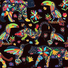 Seamless avec des animaux et des fleurs mexicaines isol es Les ours noir jaguar…