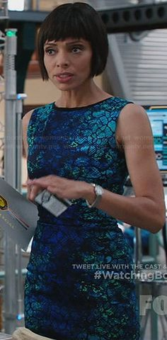Camille's blue and turquoise texture print dress on Bones.  Outfit Details: http://wornontv.net/32407/ #Bones