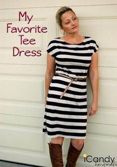 Super easy (and cute!) tee-shirt dress. No pattern needed! Draft your own using a lose-fitting tee.