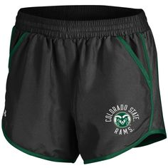 487d2856 Women's black and green Colorado State University shorts featuring a white