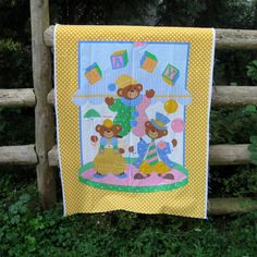 Vintage Baby Quilt Panel Fabric Panel Crib by NormasTreasures