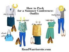 Five outfits for a summer conference. How to pack for a summer conference. Business travel, business trip, packing, packing list, business casual
