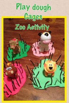 We are taking a trip to a zoo this weekend and have been talking about animals and the zoo all week! This was an easy activity for my kiddos and they played for an hour making cages! We talked all … Zoo Activities Preschool, Zoo Animal Activities, Zoo Animal Crafts, Playdough Activities, Circus Activities, Motor Activities, Outdoor Activities, The Zoo, Dear Zoo Eyfs