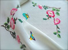 Hand Embroidered Vintage Butterfly & Rose by GardenOfCrinoline