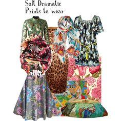 Soft Dramatic Prints by ithinklikeme on Polyvore featuring Matthew Williamson, Dolce&Gabbana, Yves Saint Laurent, Salvatore Ferragamo, Uroco, softdramatic, softdramaticprints and kibbesoftdramatic