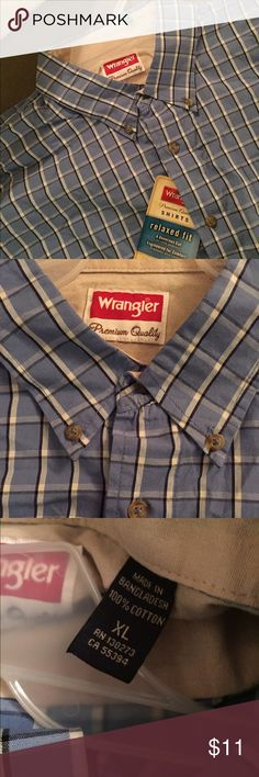 💥🆕 Wrangler Blue & Black Plaid Shirt XL 💥🆕 NWT Blue, black & white plaid shirt-sleeved button down shirt. XL. Wrangler Shirts Casual Button Down Shirts