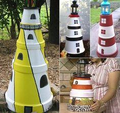 Make a Clay Pot Lighthouse cute for the garden