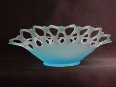 Westmoreland Glass Doric Blue Mist Satin Open Lace Bowl Original Label c. 1950's #Westmoreland