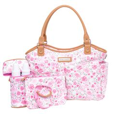 Laura Ashley, the quintessential English lifestyle brand, has created a line of beautiful and functional diaper bags to suit every need. This 6 piece diaper bag set is made in a coated nylon material which easily wipes clean. The look is enhanced by 2 roomy, quilted front pockets and 2 deep side pockets. The back of the bag has a large slash pocket with a magnetic closure that holds a cushioned changing pad. Attached is a zippered, insulated bottle holder with capacity for 2 bottles and…