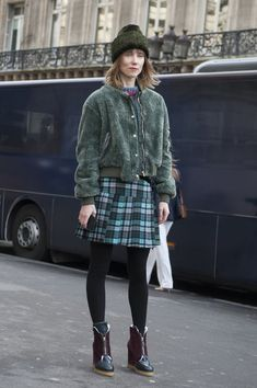 Green + Plaid | thefashionspot