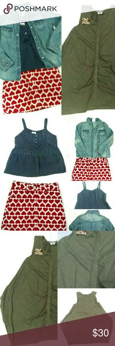 Girls Bundle Clothing Hearts and Denim! Adorable outfit or individual pieces. All gently used . Winged shirt dress has a small gran paint spot on the front that is hard to notice. Skirt has color bleeding on the liner, but the skirt is perfect:) Skirt is Gymboree, Green dress is Mish, Tank is TKS, Denim shirt is H&M. All are 5t except denim shirt which is 3-4t, but fits 5t as well. Comment with questions! Gymboree Matching Sets