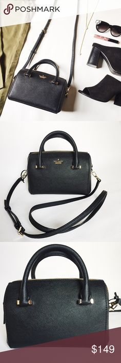 """   SALE     Kate Spade Cameron Street Logan Purse Kate Spade Cameron Street Lane in black saffiano leather featuring gold tone hardware.  Embrace the micro bag trend but still carry the essentials! Removeable, adjustable strap.  NWOT, never used!  Last pic stock photo, used to show fit.      SALE     $149 marked down to $135!  •  BUNDLE with accessories to SAVE and GET THE LOOK!  •  Measurements: 8"""" W x 6.5"""" H x 4.5"""" D Handle drop: 3.5"""" (short) / 22.5"""" (long) kate spade Bags"""