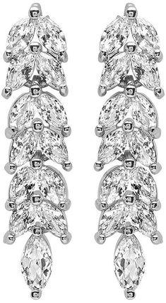 Cubic Zirconia & Silvertone Leaf Drop Earrings
