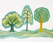 Green Trees Original Watercolor