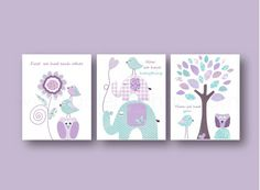 Purple and aqua Nursery art baby nursery decor nursery wall art bird elephant tree all you need is love owl Set of 3 Prints