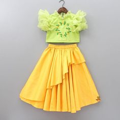 Pre Order: Mint Green Pearly Top With yellow Ghagra Baby Girl Frocks, Baby Girl Party Dresses, Frocks For Girls, Dresses Kids Girl, Kids Outfits, Kids Indian Wear, Kids Ethnic Wear, Kids Frocks Design, Baby Frocks Designs