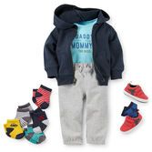French terry pants and hoodie make a sporty outfit when paired with retro-look sneakers and a funny slogan bodysuit.