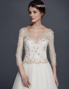 Style 50150020 white and gold colored wedding gowns with long sleeves – Darius Collection Colored Wedding Gowns, Wedding Dresses Plus Size, White Wedding Dresses, Luxury Wedding Dress, Custom Wedding Dress, Lace Wedding, Images Of Gowns, American Dress, Dress Collection