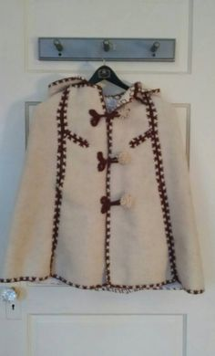 Beautiful Wool Girls Poncho, Handmade in Greece, Ivory with Detail Trim in Chocolate