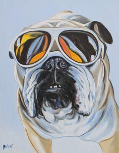 "cool bulldog 28x22"" oil on canvas by dragoslav milic"