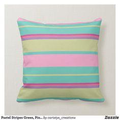 Pastel Stripes Green, Pink, Aqua, Mauve Throw Pillow Couch Pillows, Down Pillows, Designer Throw Pillows, Pillow Design, Custom Pillows, Pillow Inserts, Aqua, Vintage Fashion, Pastel