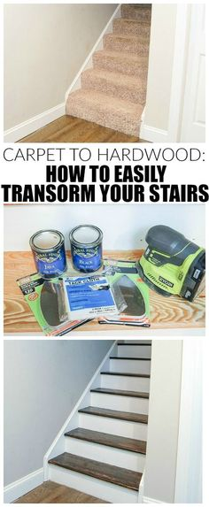 Carpet to Hardwood: How to Easily Transform Your Stairs The easiest way to remove carpet and completely transform wood stairs. - The easiest way to remove carpet and completely transform wood stairs. Hardwood Stairs, Wooden Stairs, Wood Staircase, Hardwood Floor, Home Improvement Projects, Home Projects, Home Renovation, Home Remodeling, Redo Stairs